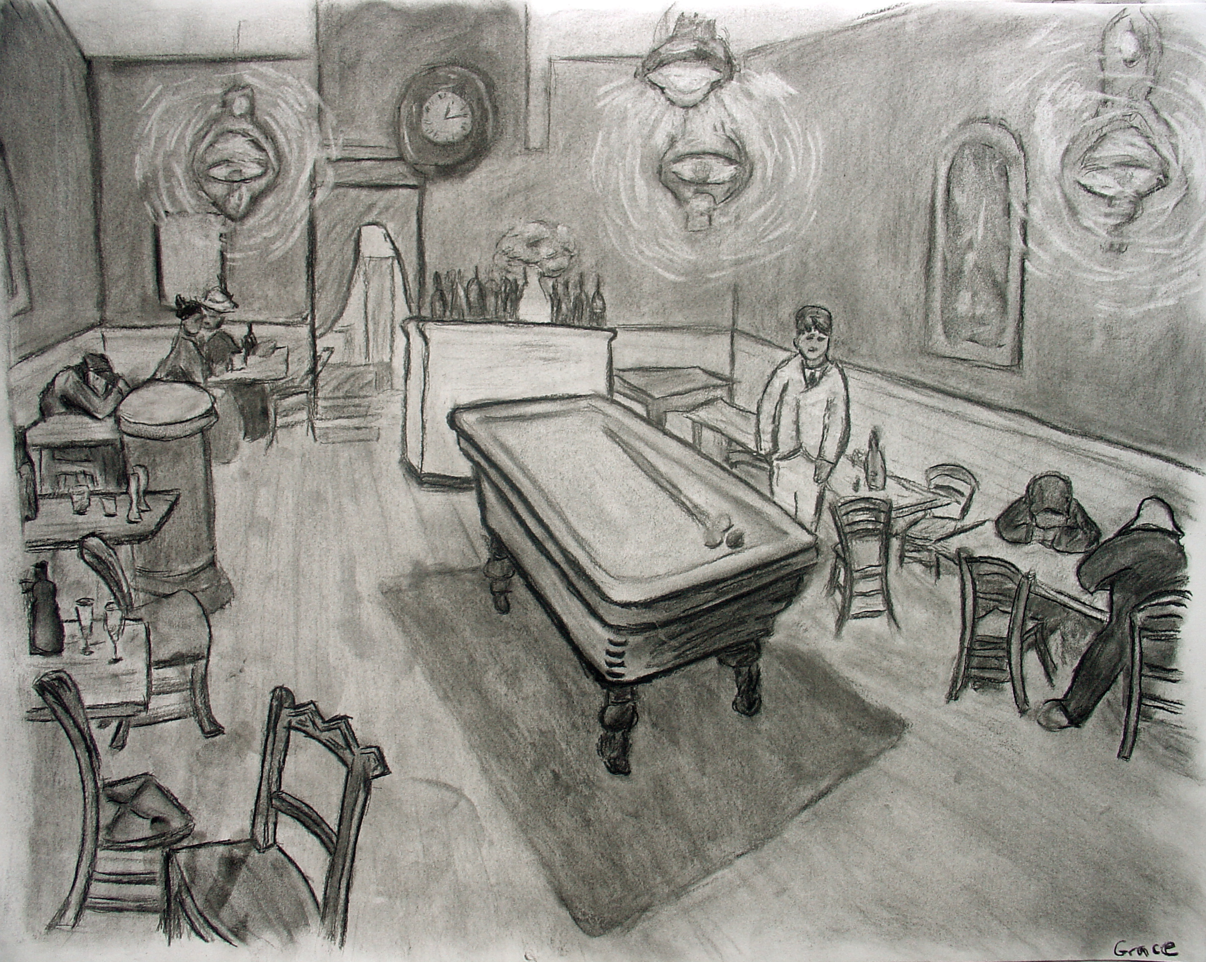 Van Gogh's Night Cafe - Charcoal